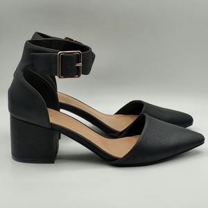 Call it Spring vegan matte leather black heels, 9